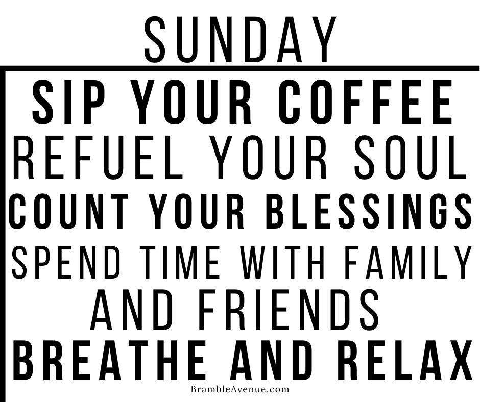 Sunday refuel recharge count your blessings