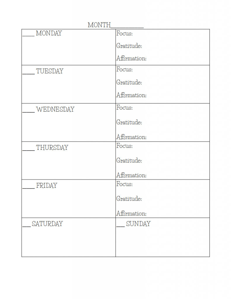 undated planner page free printable