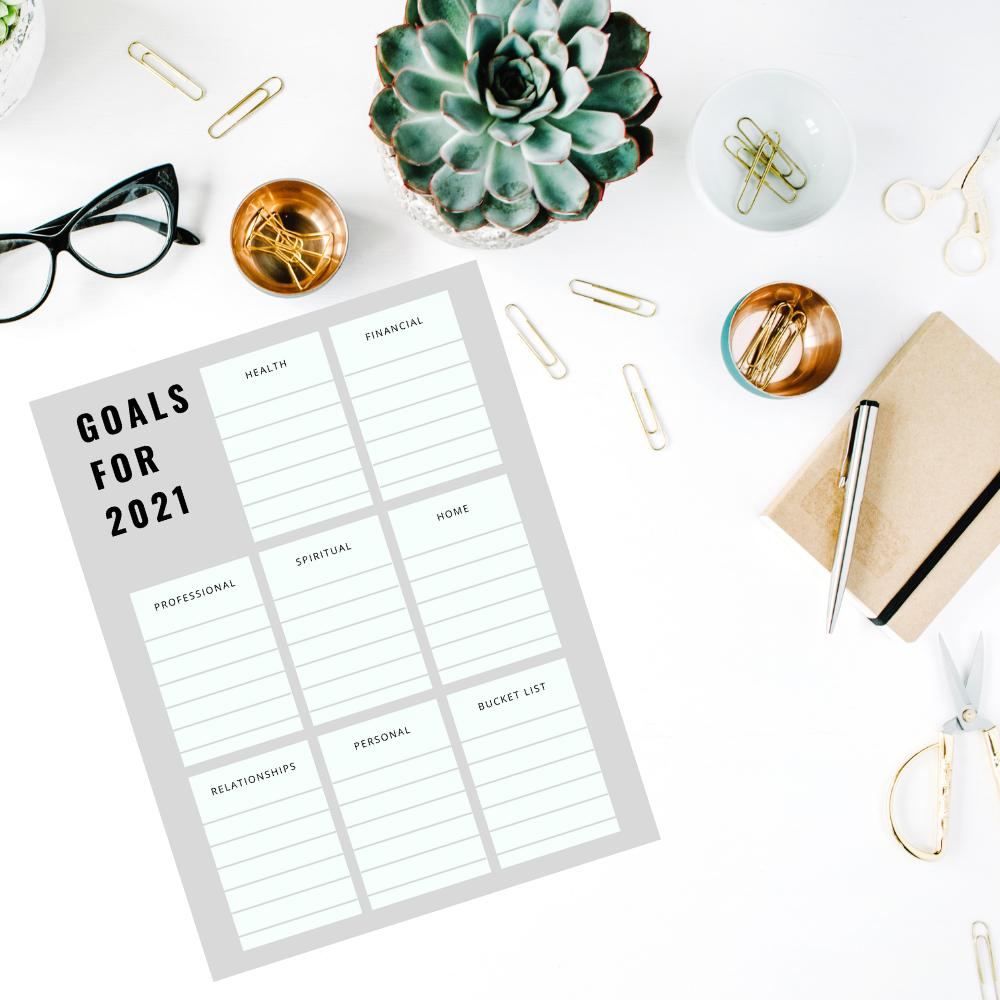 free printable 2021 goals worksheet