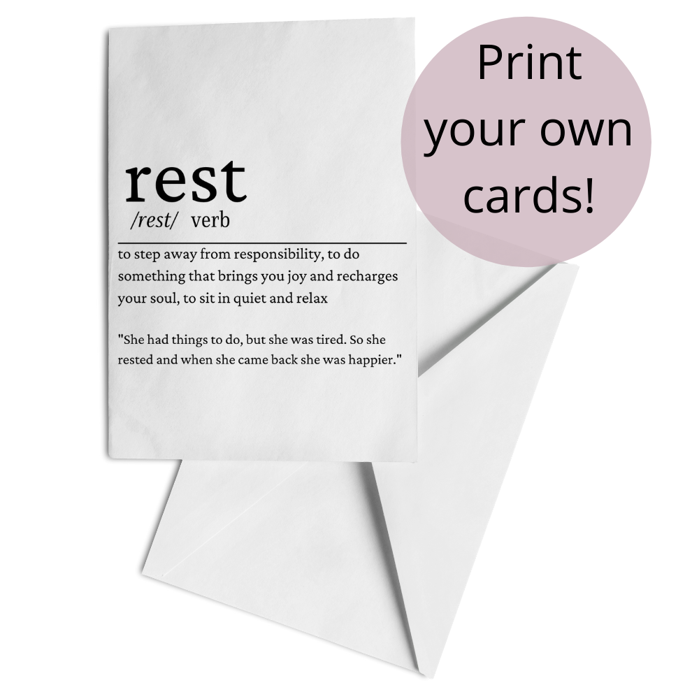 free printable rest definition card