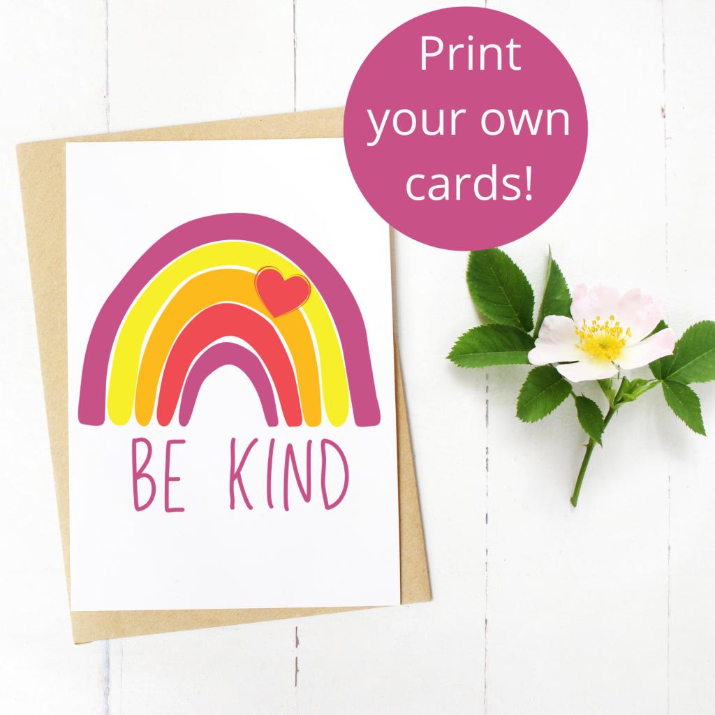 Free rainbow print greeting card