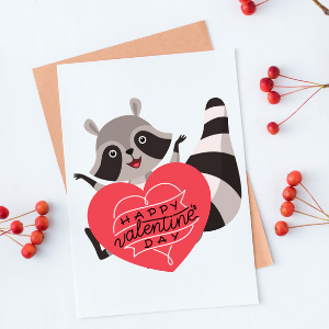 free raccoon coworker valentine card