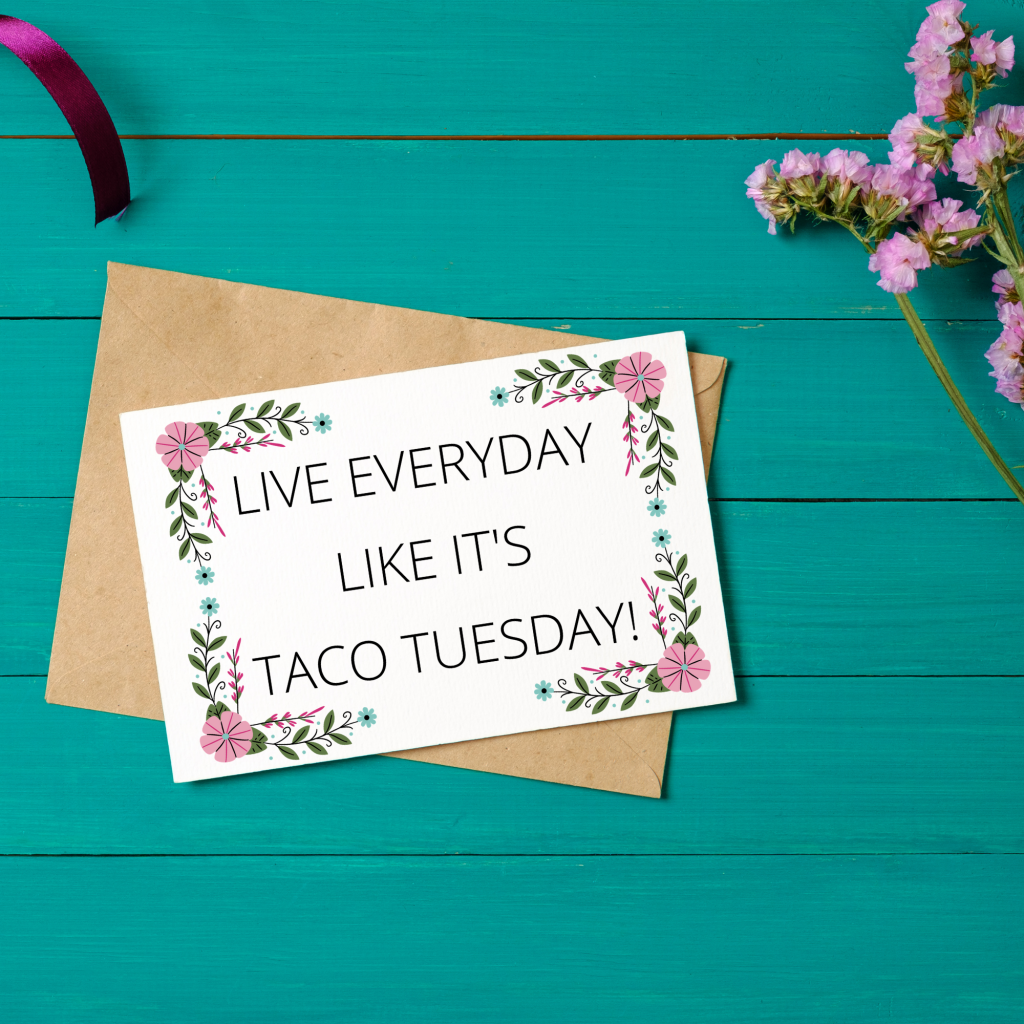 fun taco tuesday greeting card free printable