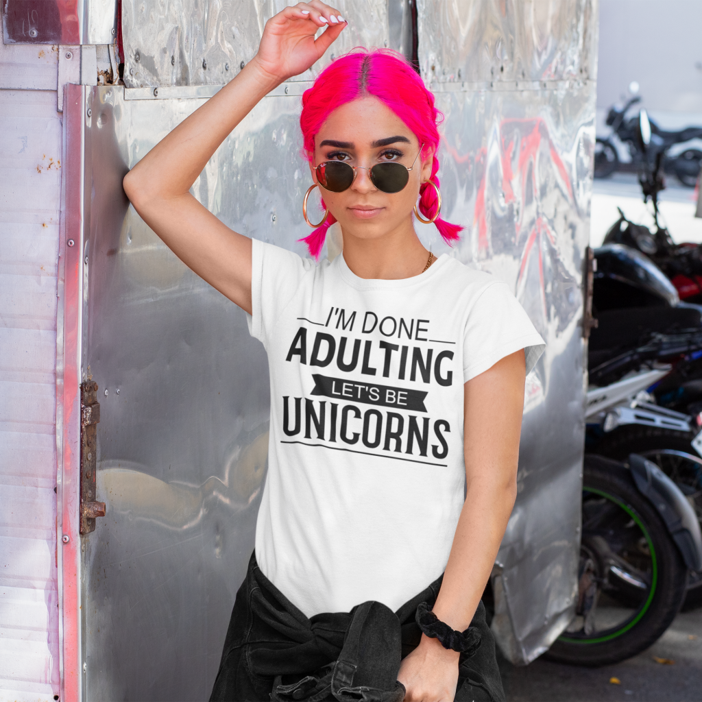 done adulting let's be unicorns free svg