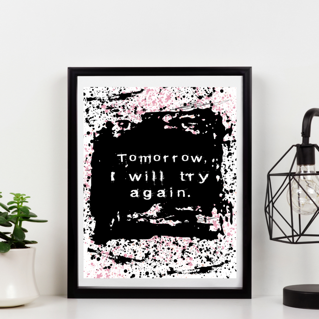 try again abstract art quote