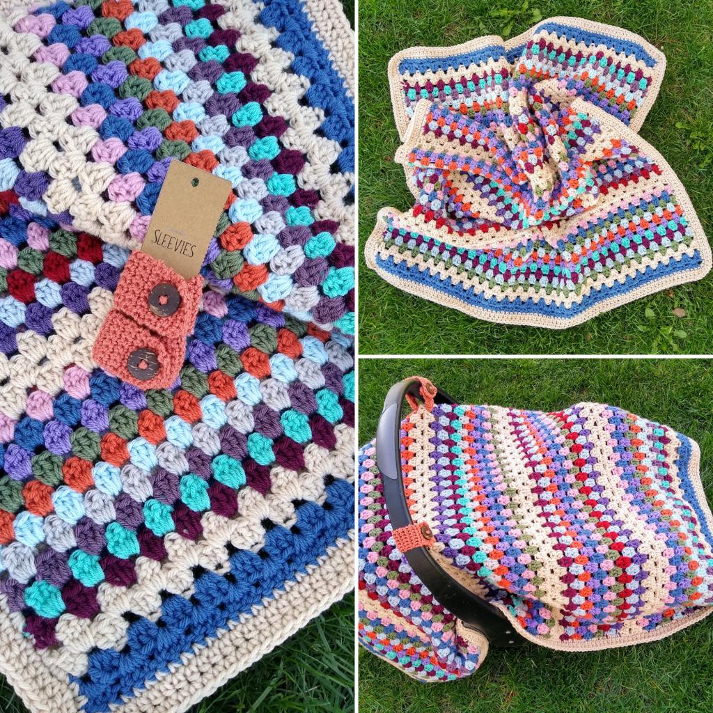 boho granny stripe baby blanket car seat cover free pattern